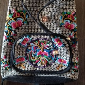 Handbags - Black/Gold embroidered backpack